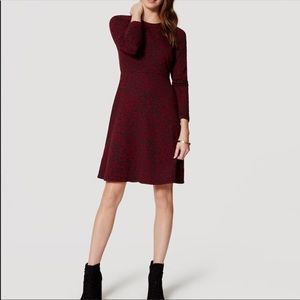Loft Crimson Floral Jacquard Dress 6